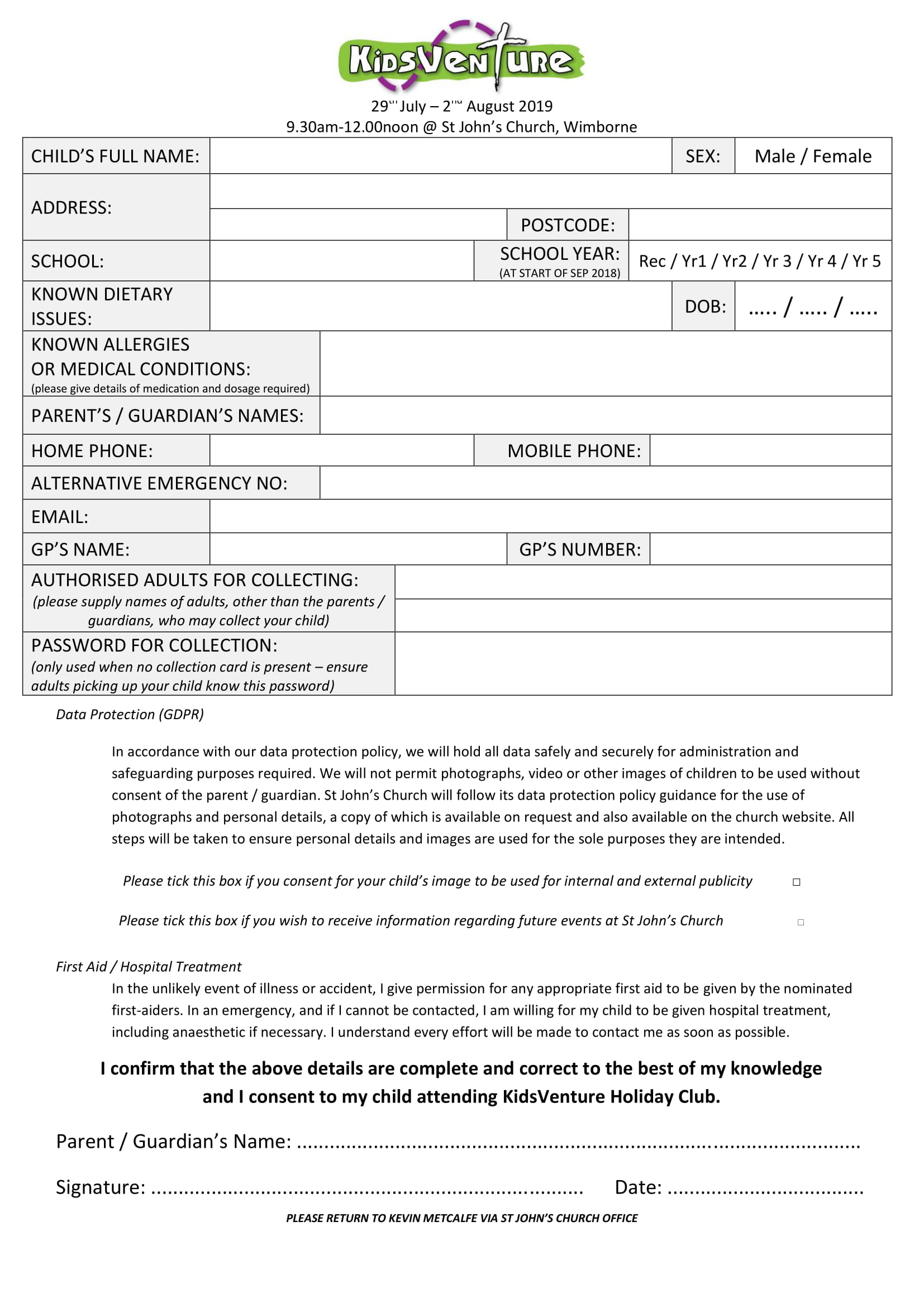 KidsVenture Booking/Consent Form 2019 pdf icon